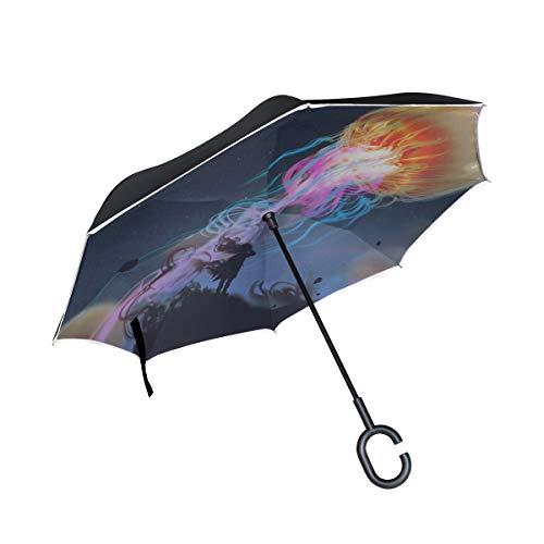 Double Layer Inverted Taschenschirm Aquarium of Jellyfish Seaweed Inverted Compact Regenschirm Tote Reverse Umbrella Winddicht UV-Schutz für Regen Mit C-förmigen Griff