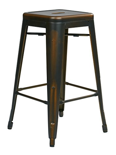 OSP Home Furnishings Bristow Antique Metal Barstool, 26-Inch, Antique Copper, 4-pack