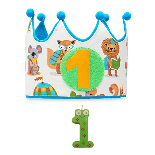 Kembilove Corona + Vela Primer Cumpleaños – Corona de Cumpleaños para Niño y Niña de animales – Algodón y Fieltro de Máxima Calidad – Cómoda y Suave para la Piel – Ideal Fiestas de Cumpleaños
