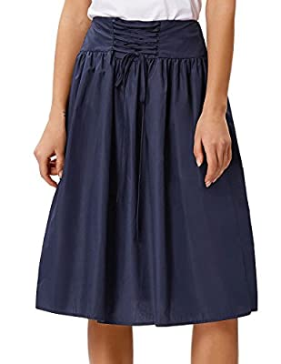 Kate Kasin Women's Elegant High Waist Corset Style Lace-up A-Line Skirt