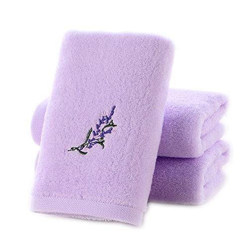 Pidada Hand Towels, 3-Pack, 100% Cotton, Highly Absorbent, Super Soft, Embroidery Pattern Hand Towel Set -13 x 28 Inch (Lavender Purple)