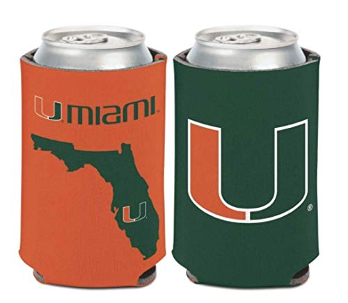 WinCraft NCAA University Miami Hurricanes 1 Pack 12 oz. 2-Sided Can Cooler