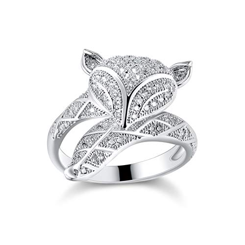 HSUMING Animal Open Ring 925 Sterling Silver Rose Gold Plated Lovely Fox Ring For Women Girls,Silver
