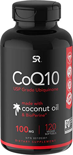 CoQ10 100mg Enhanced with Coconut Oil & Bioperine (Black Pepper) for Better Absorption | Vegan...