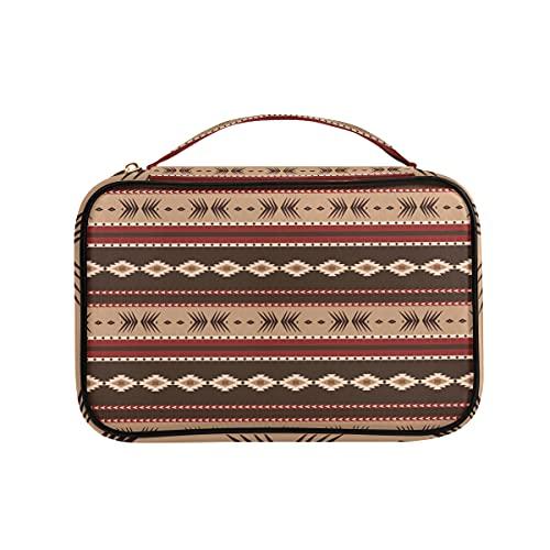 Organizador de joyas nativo americano bolsa de viaje pu cuero almacenamiento casos para collares, pendientes, anillos, pulsera