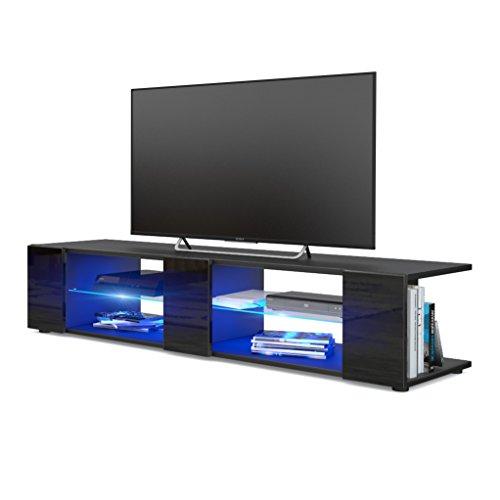 Vladon Mesa para TV Lowboard Movie V2, Cuerpo en Negro Mate/Frentes en Negro de Alto Brillo con iluminación LED en Azul