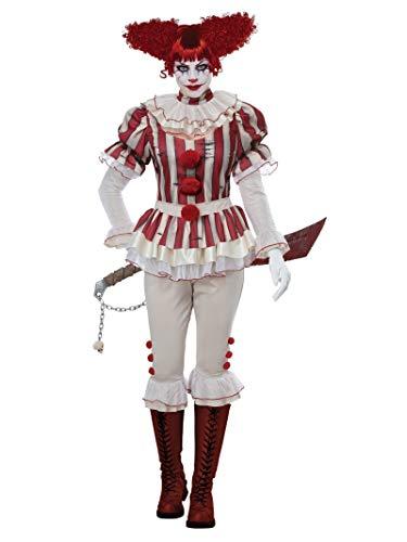 California Costumes Women's Sadistic Clown-Adult Costume, RED/Cream, Medium