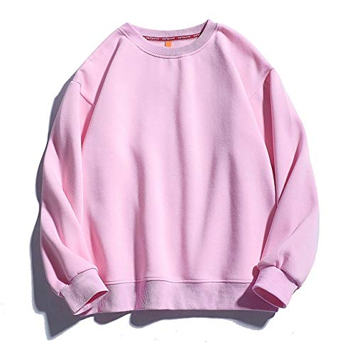 HAOKE Sudadera con capucha para hombre, de color sólido, para invierno, cuello redondo, con capucha y terciopelo cálido, para hombre (color: rosa, talla: 4XL)