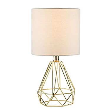 CO-Z Table Lamp with White Fabric Shade, Desk Lamp with Hollowed Out Base 18 Inches in Height for Living Room Bedroom Dining Room(Gold Base)