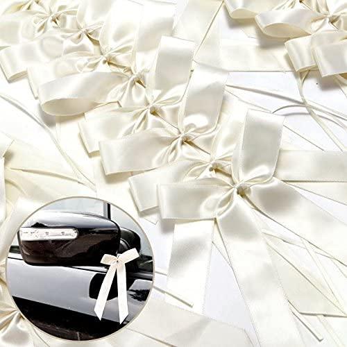 LATRAT Satin Voiture Decoration, 100 Pièces De Blanc Décoration De Mariage Nœuds, Noeud de Décoration de Mariage, Ruban Voiture Mariage, Noeud Rubans Déco, Noeuds Mariage Voiture, Blanc