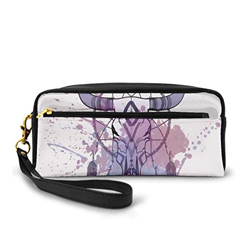 Pencil Case Pen Bag Pouch Stationary,Bull Skull Illustration with Dreamcatcher and Watercolor Splashes Abstract,Small Makeup Bag Coin Purse