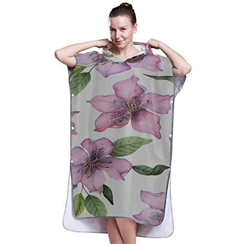 YXUAOQ Rhododendron Bunte Blume Strandtuch Poncho Strandtuch Poncho Erwachsene Handtuch Ponchos für Frauen zum Surfen Schwimmen Baden One Size Fit All