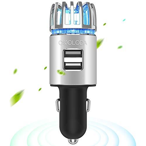 Car Air Purifiers, COOLODA Car Air Purifier Ionizer with Dual USB Charger 12V Plug in Air Fresheners...