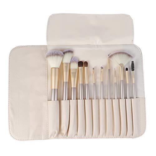 Beaupretty Portable Face Brush Pouch Bag avec 12 Pcs Poignée En Bois Pinceaux De Maquillage Professional Premium Foundation Pinceaux Cosmétiques