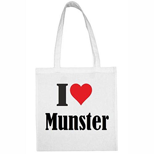 Tasche I Love Munster Größe 38x42 Farbe Weiss Druck Schwarz