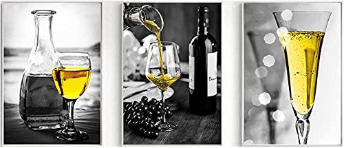 Lienzo Obra de arte Imagen de champán Decoración para el hogar Arte de pared nórdico Impresión en copa de vino Póster Pintura artística para cocina Sala de estar 3 piezas 40x60cm sin marco