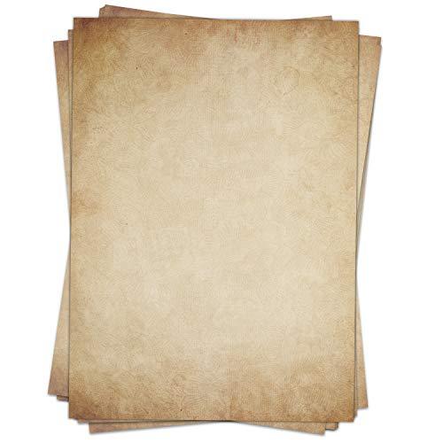 50 Blatt Briefpapier (A4) | Altes Papier -Vintage braun | Motivpapier | edles Design Papier | beidseitig bedruckt | Bastelpapier | 90 g/m²
