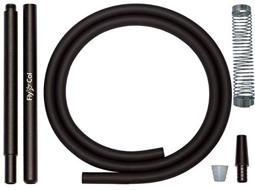 FlyCol Shisha Schlauch Set mit Aluminium Mundstück + hochwertiger Soft-Touch Silikonschlauch + Universal Endstück Adapter + Knickschutzfeder | Wasserpfeife Shishaschlauch Kit (Schwarz, 1)