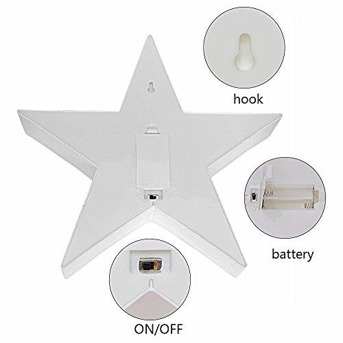 Wringo - Letras Decorativas con Forma de Estrella de luz LED de plástico, Funciona con Pilas, para decoración de Navidad en casa