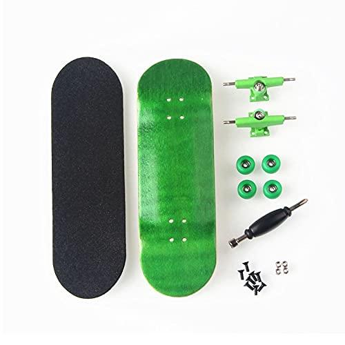 LIBAISI Monopatín de los Dedos 8 Color Skate Toys Tipo Profesional Rodamientos Ruedas Skid Pad Mapate Madera Monopatín Pieza de patinetas ( Color : Green )