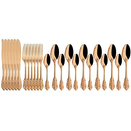24pcs Cuchillos Tenedor Cuchara de té Vajilla Occidental Vintage Cubiertos Set 18/10 Cena de acero inoxidable Cubiertas Cubiertas Cocina Setware (Color : Rose)