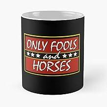 KiwLa TV Horses and Funny Only Show Delboy Rodney British Grandad Fools Taza de café con Leche 11 oz