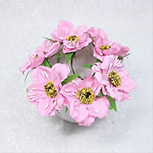 DSWJH Bouquet Artificial Flower Flower Heads Mini Silk Artificial Poppy Bouquet Wreath Scrapbook Wedding Decoration Fake Flower
