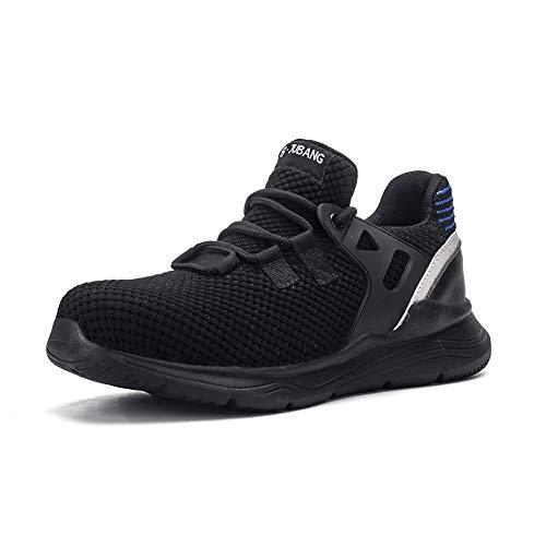 Gainsera Zapatos de Seguridad Zapatos de Trabajo Zapatos con Punta de Acero Ligero y Transpirable Hombres Mujeres Deportes Unisex Zapatos de Verano, JB912 Black 45