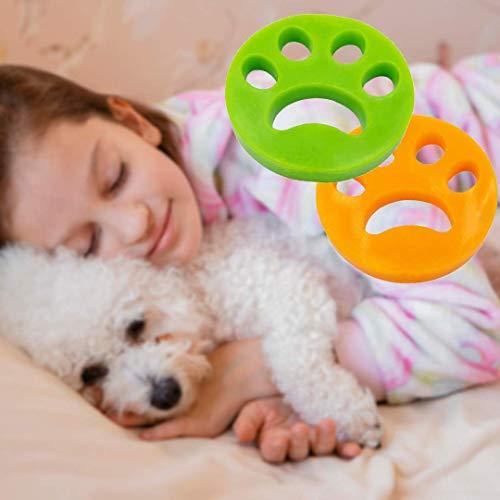 Pamura - 2 Stück Fusselpfote - Tierhaarentferner - Tierhaarentfernung für Waschmaschine und Trockner - wiederverwendbar - einfache Reinigung - Gelb/Grün