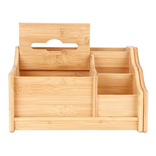 Caja de Almacenamiento, contenedor de Almacenamiento de Escritorio de bambú con múltiples Compartimentos para almacenar Libros, pañuelos, Control Remoto y más