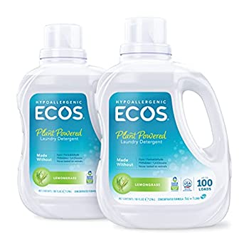 ECOS® Hypoallergenic Laundry Detergent Lemongrass 200 loads 100oz Bottle by Earth Friendly Products  Pack of 2