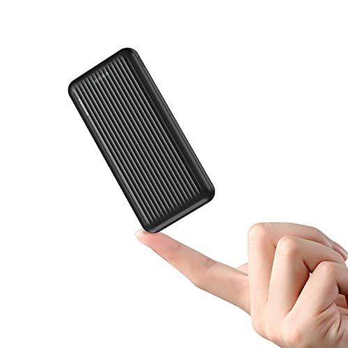 undreeem Batería Externa 10000mAh,Ultradelgado Powerbank con USB C+Micro,Cáscara corrugada Texturizada,Cargador portatil 2 Puertos de Salida(5V/2.4A),Power Bank para Phone,Pad,Samsun,Huawe,Xiaom