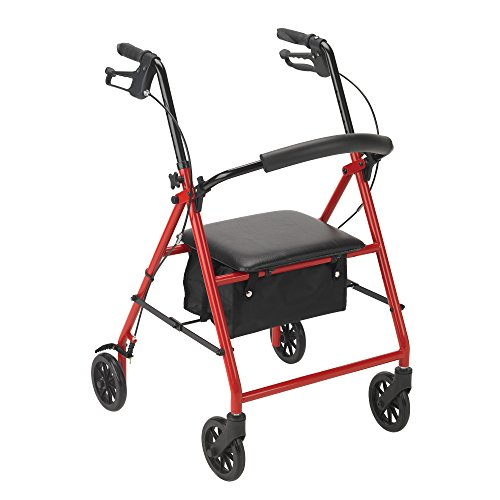 Drive Medical Rollator with Wheels, Red