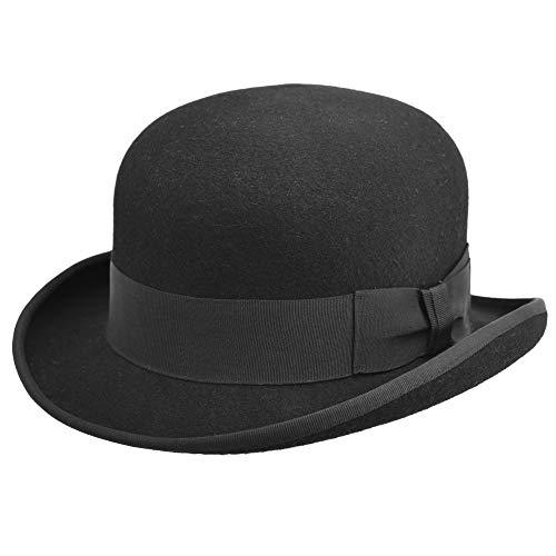 Melegari Cappello a Bombetta Feltro di Lana Modello Laurel & Hardy   Bombetta Inglese   Uomo Donna  Estate Inverno (Nero, XL (61-62))