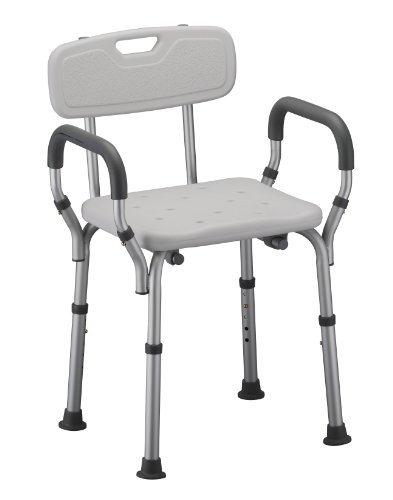 NOVA Medical Products Shower and Bath Chair with Back & Arms, White, 1 Count