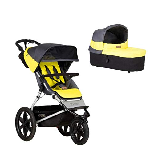 Mountain Buggy Terrain 3 + Carrycot - Capazo para bebé, color gris y amarillo
