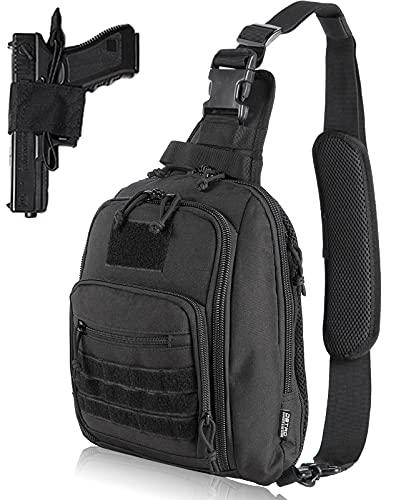 DBTAC Tactical Bag Shoulder Chest Pack with Sling for Concealed Carry of Handgun (Black)