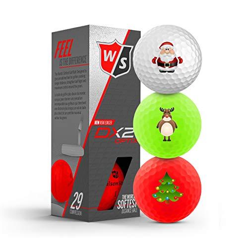 Wilson Staff DX2 Soft/Optix 2018 Xmas - 3er Pack Weihnachtsgolfbälle