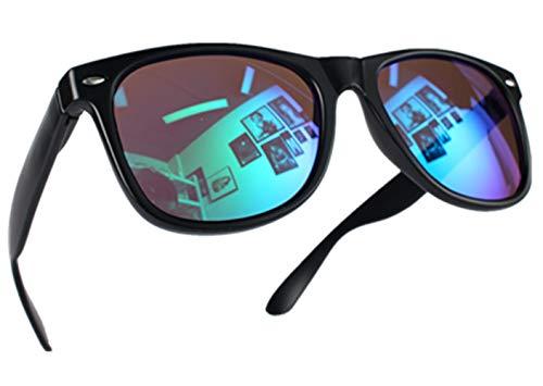 Miobo Hochwertige UV400 CAT 3 CE Nerd Sonnenbrille Retro Vintage, Brille für Damen Herren und Kinder (Damen und Herren, Schwarz Karibikblau)