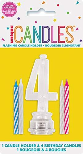 Unique Party 37534 - Candela di Compleanno Numero 4 Cambia Colore Lampeggiante Portacandela Con 4 Candele