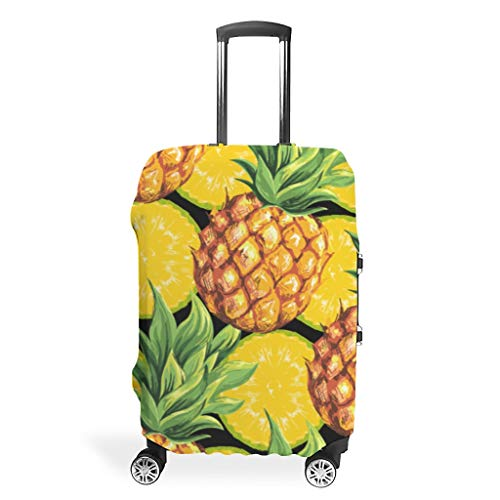 Zhcon Luggage case Cover Fashion Spandex Travel Baggage Suitcase Cover Dust-Proof Anti-Thief Baggage Protective Cover Pineapple Fruit 3D Printing White XL (76x101cm)