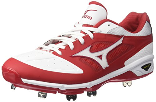 Mizuno Men's Dominant IC Baseball Shoe, Red/White, 9.5 D US