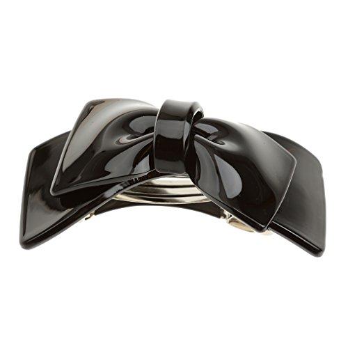 Bonarty Mode Dame Frauen Mädchen Acryl Big Bowknot Haarspange Haarnadel Haarspangen Haarschleife - Schwarz