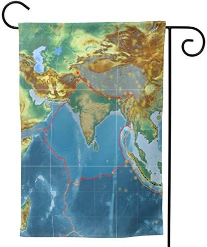 Zudrold Placa tectónica India Decorativa de Verano esbozada en el Mapa de Relieve topográfico Global Garden Flag