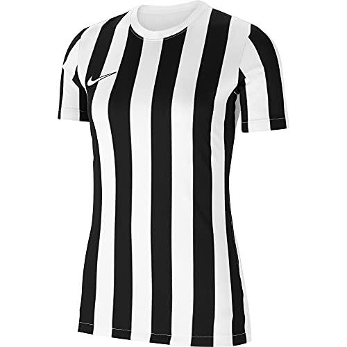 NIKE Camiseta de Mujer Striped Division IV de Manga Corta para Mujer, Mujer, CW3816-100, Blanco, Negro, Small