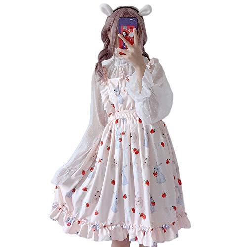 Himifashion Frauen Kleid Lolita Strawberry Rabbit 2 Stück Kleider (Pink)