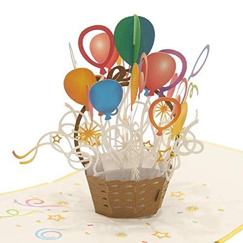 CUTEPOPUP Ballonkorb 3D Karte Pop Up Geburtstagskarte für Frauen, Happy Birthday Pop Up Karte für Kinder, 3D Glückwunschkarte, 15,2 cm x 15,2 cm.