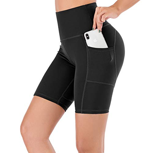 """Lianshp Running Shorts for Women Moisture-Wicking High Waisted Workout Sports Yoga Shorts with Pockets 8"""" Black L"""