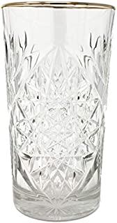 Libbey - Hobstar - Longdrinkglas, Cocktailglas, Saftglas - Kristall - mit edlem Goldrand - 1 Stück