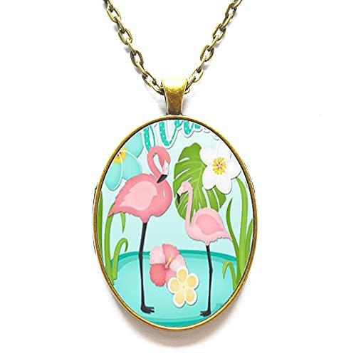 Collar de flamenco delicado, collar de abalorio, collar de pájaro, regalo para amantes de flamencos, collar de la suerte, colgante de cristal, N057